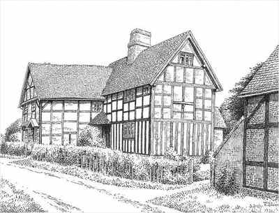 Beoley, timbered house, Worcestershire