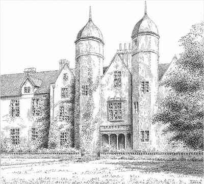 Bewdley, Ribbesford House, Worcestershire, pen drawing