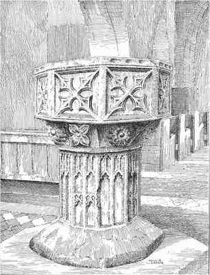 Crowle, church font, Worcestershire