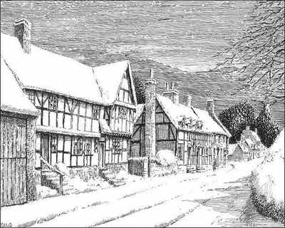 Feckenham, timbered house, snow, Worcestershire