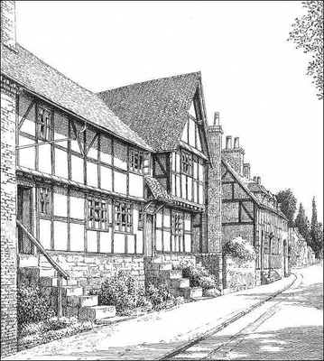 Feckenham, timbered houses, Worcestershire