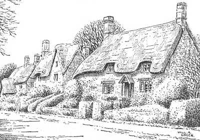 Great Tew Oxfordshire Cottages Pen Drawing