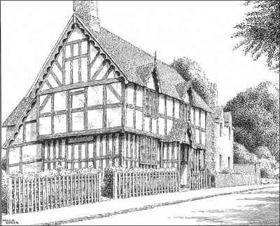 Pen House Drawing Harleston Timbered House