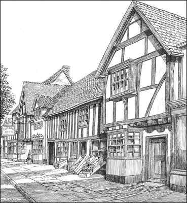 Henley in Arden, timbered houses, Warwickshire