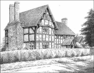 Nether Whitacre, timbered house, Warwickshire