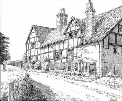 Old Village House Drawing Church House Old Cottages