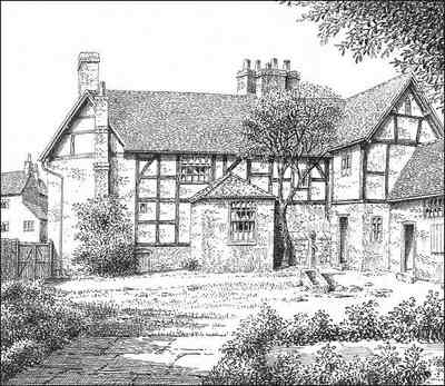 Old Village House Drawing Water Orton Wakefield House