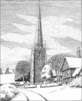 Yardley Church, snow, Birmingham